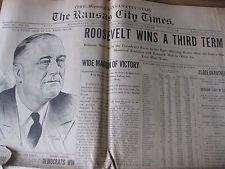 11-05 & 11-06-1940 KANSAS CITY TIMES NEWSPAPERS  FDR v WILLKIE ELECTION COVERAGE