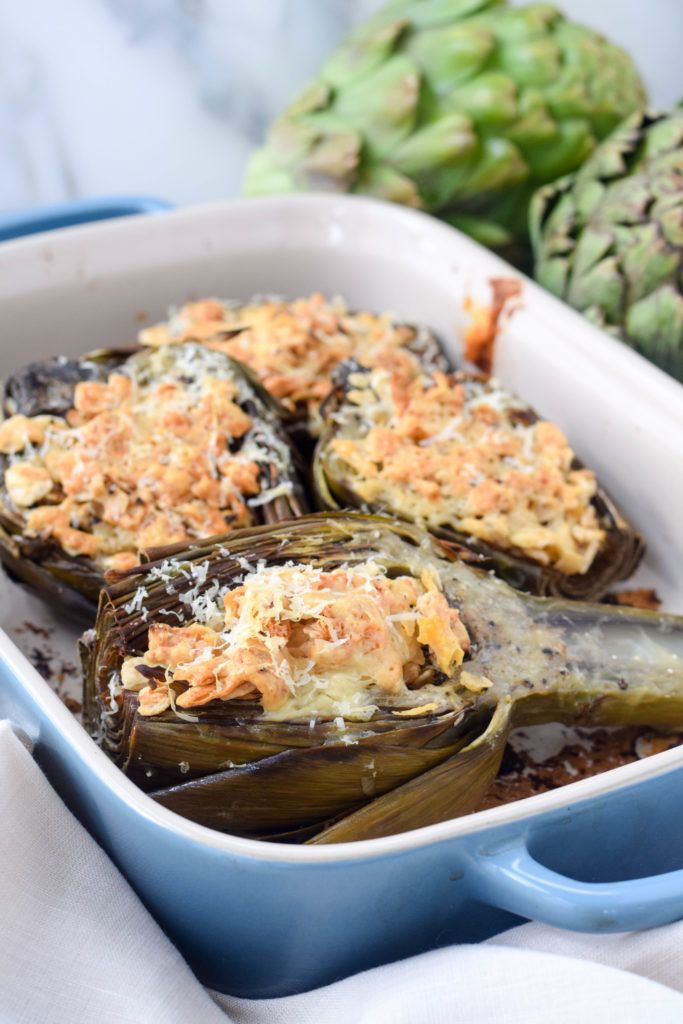 A seasonal Passover side dish: baked artichokes with matzo farfel stuffing. Celebrate spring at your Seder. Make ahead!