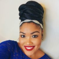 My cousin Candice is so nice with the curls and the buns!!  This simple, yet elegant high bun is versatile for day and evening!