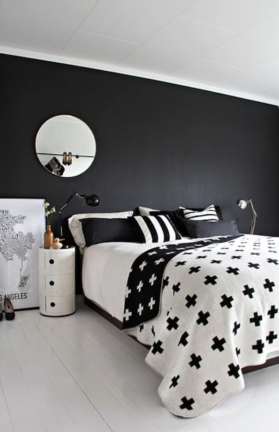 Black And White Bedroom Componibili Pia Wallen Cross Blanket Wall