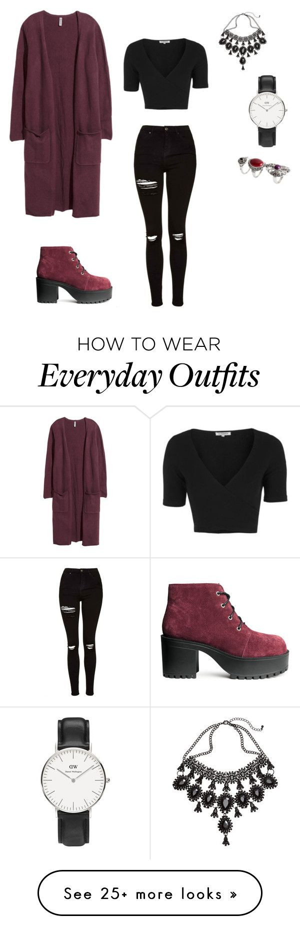 """Everyday grunge outfit"" by caitlynnotjenner on Polyvore featuring H&M, Topshop and Daniel Wellington"