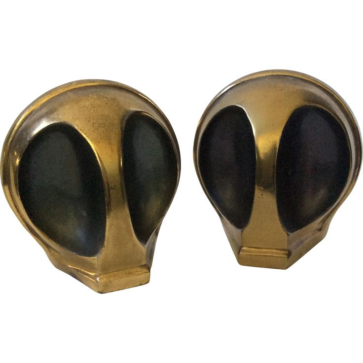 #VintageBeginsHere at www.rubylane.com---RARE Ben Seibel MidCentury Brass 'Alien' Bookends for Jenfredware