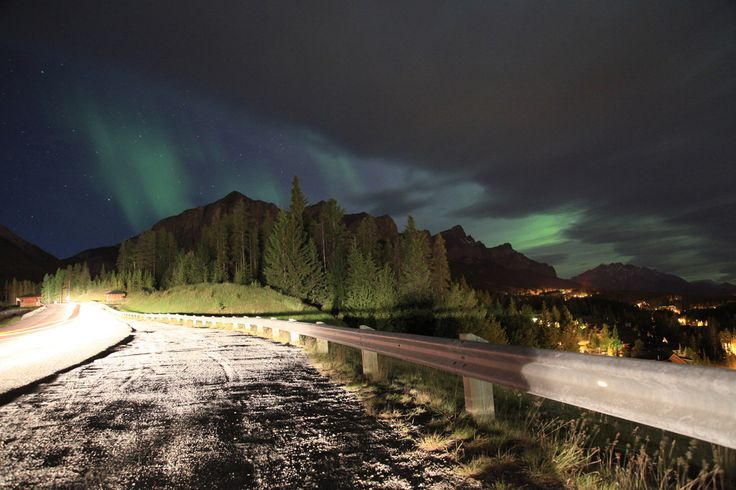 Small gap in the clouds reveal Northern lights in Canmore, Alberta  #Canmore