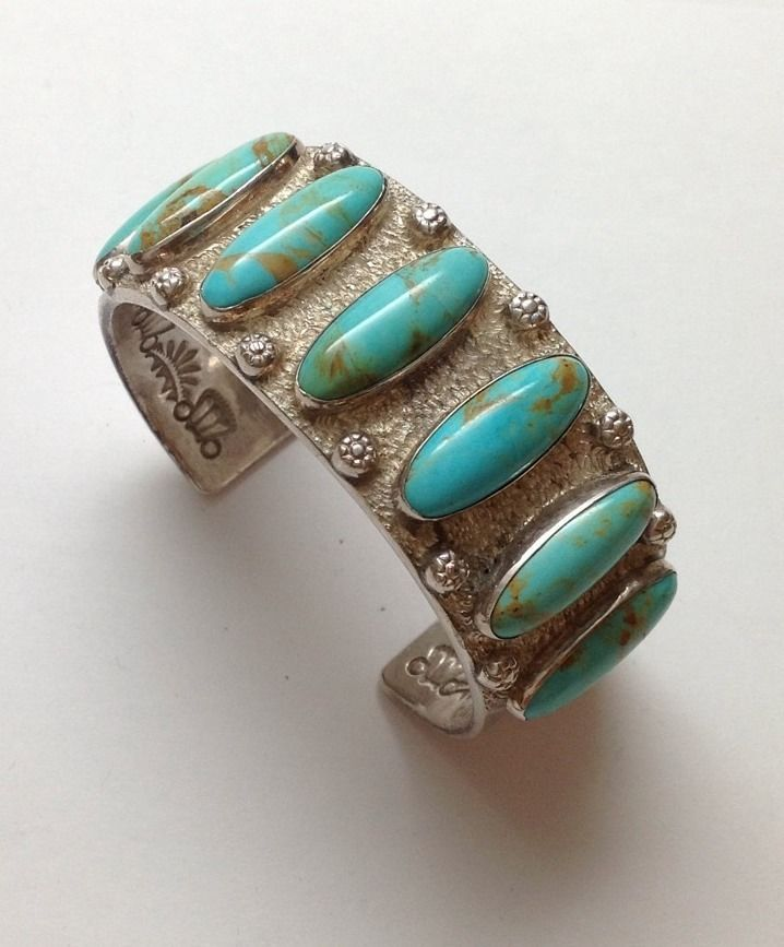 Jimmy Calabaza Ca'Win Sterling Silver Turquoise Textured Cuff Bracelet