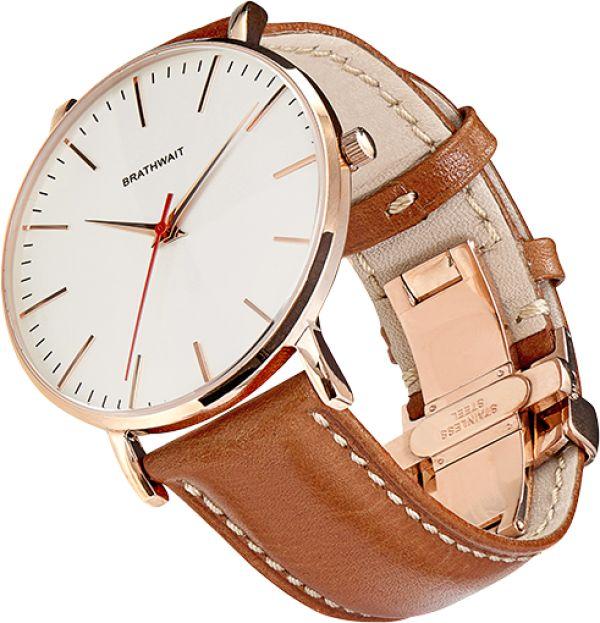 The classic slim wrist watch: Marron handmade Italian calf leather strap – Brathwait