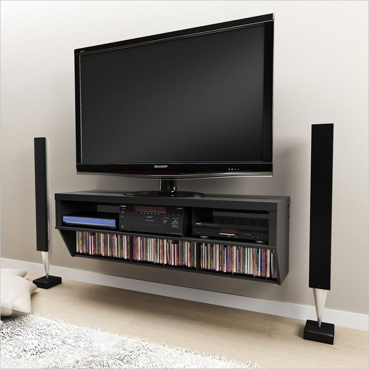 """Series 9 Designer 58"""" Wide Wall Mounted TV Console in Black by Prepac - This sleek 58-inch Wall Mounted TV Stand has unique styling. The chunky wood design is perfect for any contemporary living space.  Three large storage compartments on top provide ample room to store your audio and video equipment while lower shelves hold your DVDs, games or other media."""