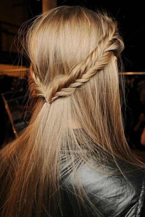 fishtail half up half down hairdo for long hair