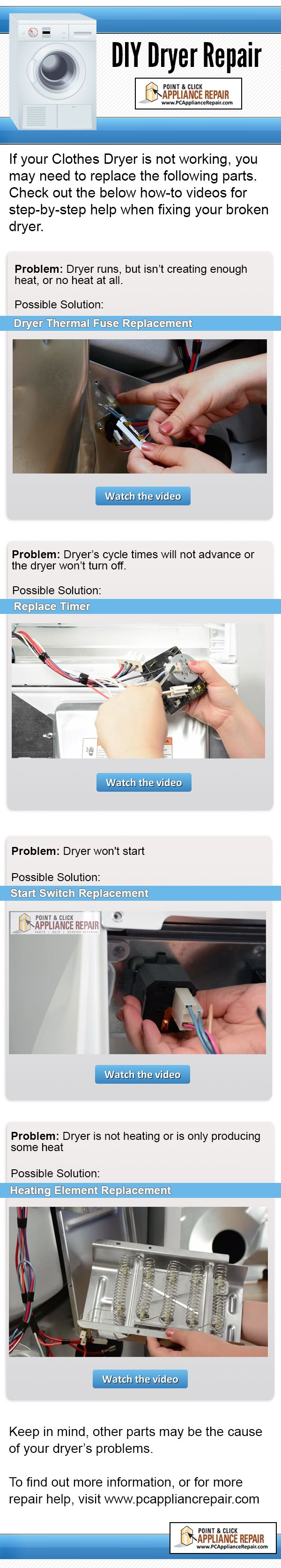 If your Clothes Dryer is not working, you may need to replace the following parts in order to fix your problem. Check out the how-to videos for step-by-step help when fixing your broken dryer.