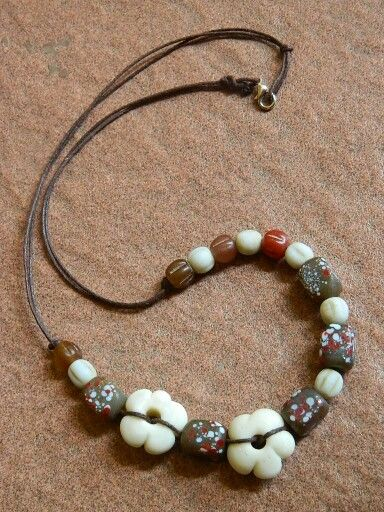 Brown flowery, java beads