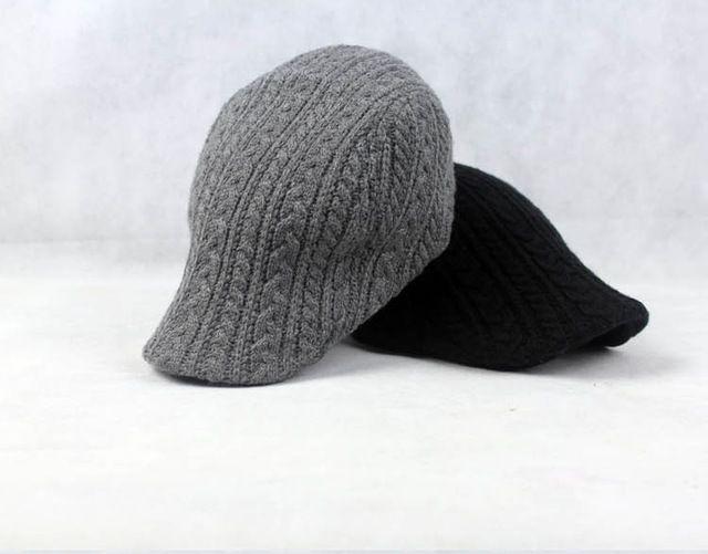 2015 nueva Crochet giro sombreros para hombre de punto sombrero de la boina del invierno del casquillo plano Gorras Planas Boinas sombrero de la mujer Boinas