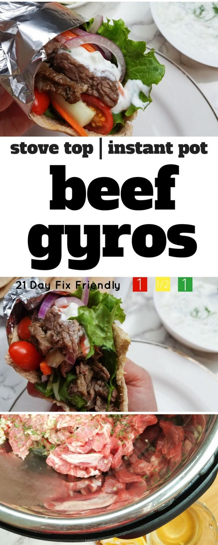 These Instant Pot Beef Gyros (can be made on stove too!) are a quick meal filled with clean ingredients and veggies–and they're 21 Day Fix friendly! | 21 Day Fix Instant Pot Beef Gyros | Instant Pot Dinner Recipe | 21 Day Fix Dinner Recipe | 21 Day Fix Gryos