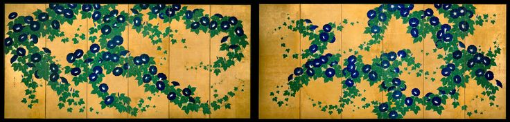 suzuki kiitsu 鈴木其一 ca.1845-1858 Morning Glories 朝顔図屏風