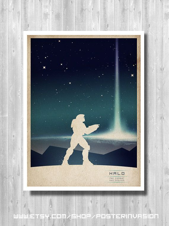 Master Chief poster, Halo Poster, video game poster, Halo Print, High quality prints, Poster inspired by Halo game, Minimalist Halo print