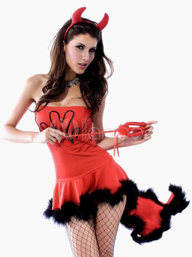 Strapless 3-Piece Backless Polyester Christmas Bedroom Costume For Women - http://www.milanoo.com/product/strapless-3-piece-backless-polyester-christmas-bedroom-costume-for-women-p548975.html