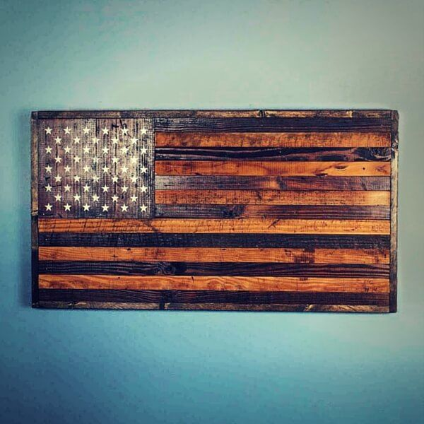 Bourbon and Boots Reclaimed Barnwood American Flag