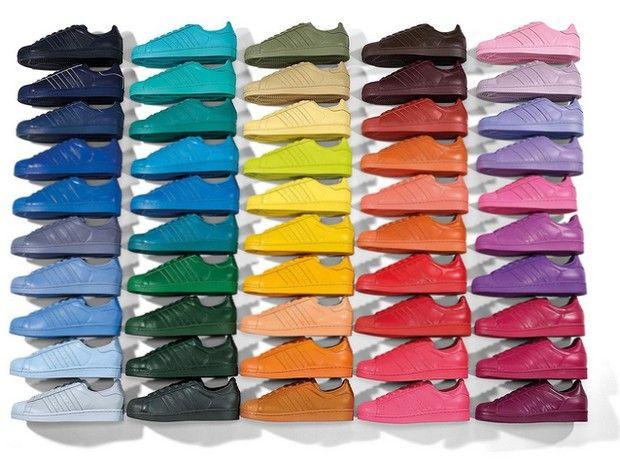 Supercolor: Pharrell Williams assina 50 pares coloridos do Superstar da Adidas (Foto: Divulgação)