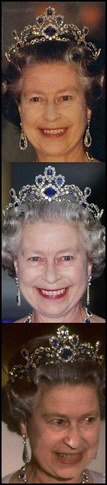 thetudorswiki:  Queen Elizabeth in the Sapphire Suite Tiara and matching earrings (there is also a bracelet to form a demi-parure)