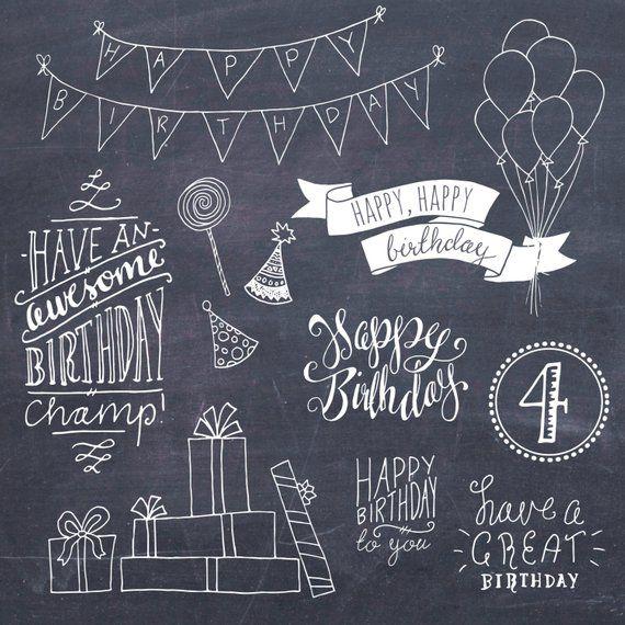 Glücklich Geburtstag Clip Art Set / / Hand Schriftzug Wortkunst / / Photoshop Pinsel PSD Vektor / / DIY Karte / / Mädchen junge Party / / kommerzielle Nutzung