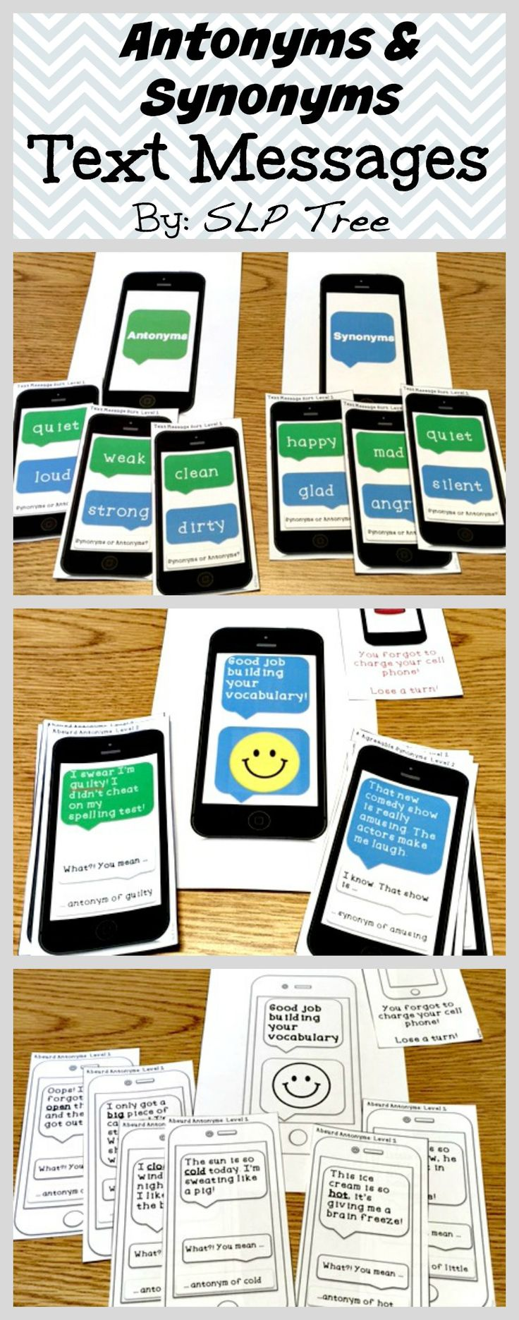 Practice receptive identification and expressive use of antonyms and synonyms by using context clues and fixing absurdities with a motivating cell phone/technology theme. The two levels of vocabulary are great for a diverse caseload and appropriate for older students working on lower level vocabulary.