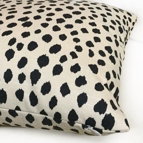 "Designer Abstract Dalmatian Dots Black Nude Beige Pillow Cover, Fits Lumbar 16"" 18"" 20"" 22"" 24"" Cushion Inserts"