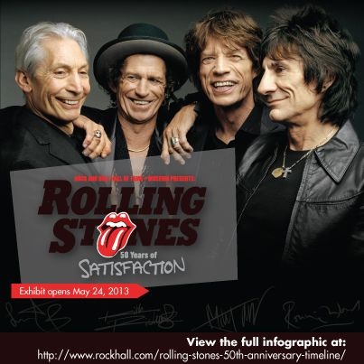 The Rock and Roll Hall of Fame + Museum Rolling Stones exhibit opens this Friday!  History of the Rolling Stones infographic 50th Anniversary