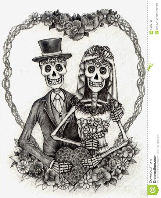 Bride And Groom Skull Skeletons Grim Reaper Art In