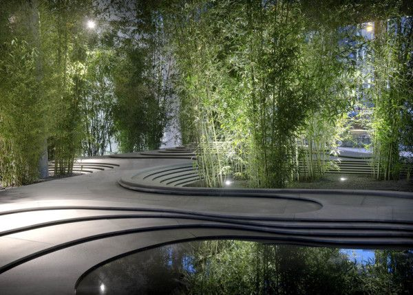 Bamboo trees sprouted up around a topographical landscape of stone and water at this installation created by Japanese architect Kengo Kuma in Milan last month. Click to enlarge
