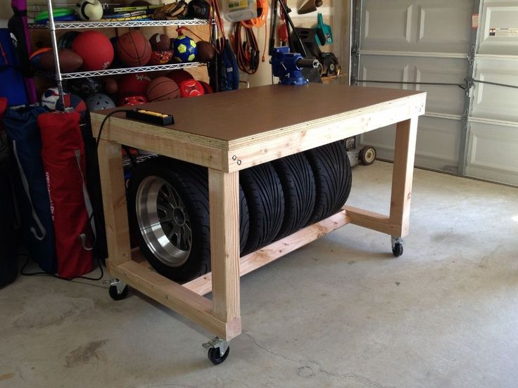 Workbench with tire storage front