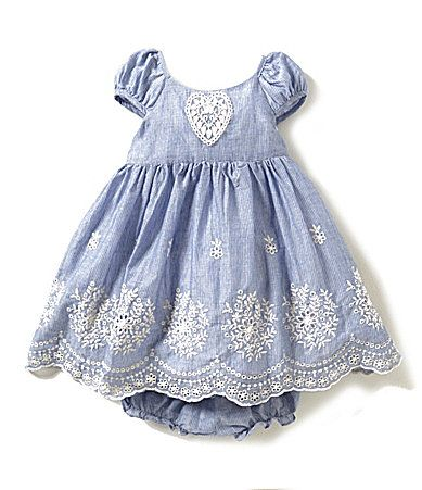 Laura Ashley London Baby Girls 1224 Months Heart Appliqu Embroidered Striped Dress #Dillards