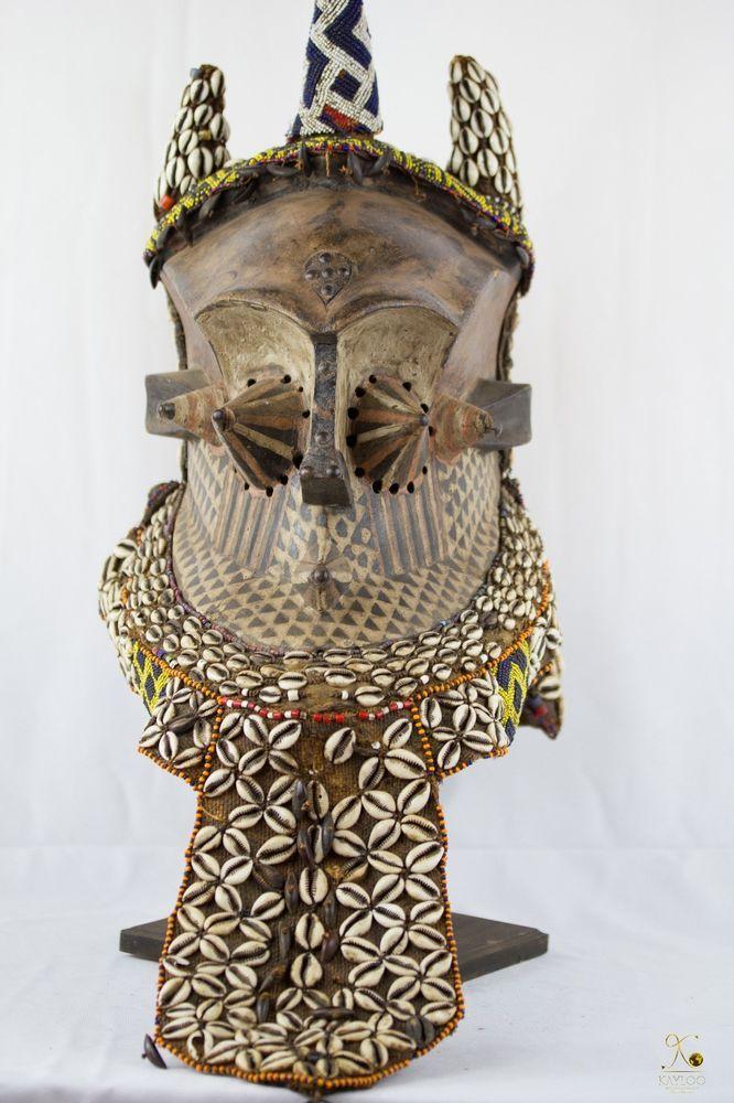 Tribal Used Kuba Kete African Helmet - Mask Congo DRC