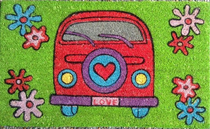 Flower Power cool Kombi VW Coir Fibre door mat volkswagen Hippee Peace LOVE