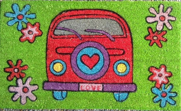 Flower Power cool Kombi VW Coir Fibre door mat volkswagen Hippee Peace LOVE