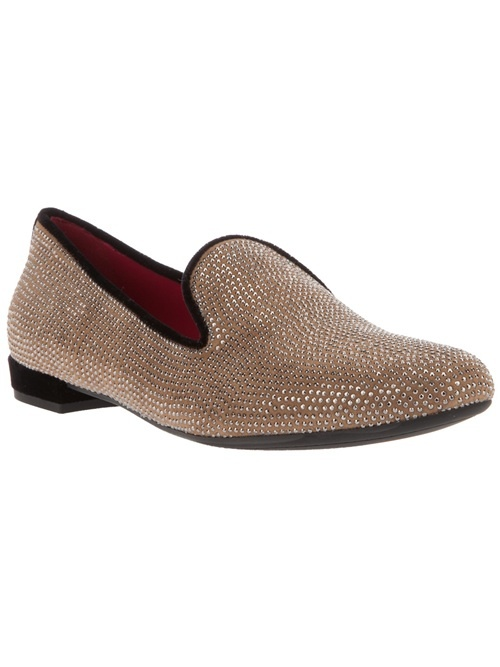 Women - Slippers - 10A 'Venice' Slipper - Beige calf leather 'Venice' slippers from 10A featuring all over embellishment, black edging, almond toe and a shallow block heel.