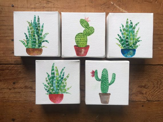 Succulent and Cactus - small paintings - acrylic on canvas - original art - cactus art - gift art - cactus painting - 4x4 - cute gift