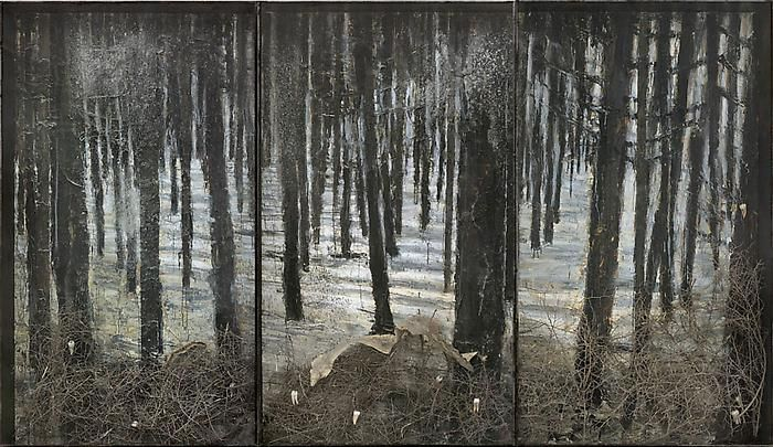 """Anselm Kiefer (All. 1945- ), Winterwald, 2010, oil, emulsion, acrylic, shellac, ash, torn bushes, synthetic teeth and snakeskin on canvas in glass and steel frames, 130 11/16 x 226 13/16 x 13 13/16"""""""