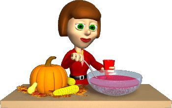 GIFs GIF GIFs Animated Animations Animation Images 3D: Thanksgiving Party Animated GIF Hostess Serving Pu...