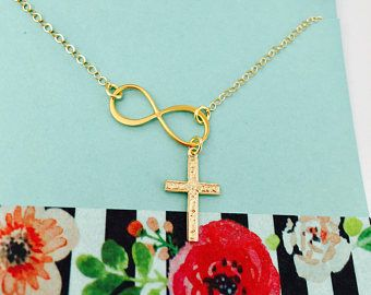 Cross Necklace, Gold Cross Necklace, Confirmation Gift, Cross Jewelry, Religious Jewelry, Infinity Cross Necklace