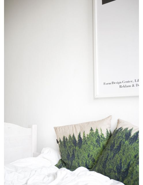 "These forest pillows, by Fine Little Day, would become great friends with the Sara Carr tree pillow we have. http://pinterest.com/pin/1222441/ Btw, the ""Form/Design Center"" from the poster is in my hometown, Malmö in Sweden."