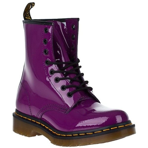 DR. MARTENS 1460 Lace-Up Boot Purple Patent (305 BRL) ❤ liked on Polyvore featuring shoes, boots, ankle booties, dr. martens, dr martens, purple patent, ankle boots, lace up booties, lace-up bootie and short boots