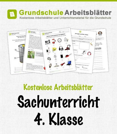 Kostenlose Arbeitsblätter und Unterrichtsmaterial für den Sachunterricht in der 4. Klasse in der Grundschule.
