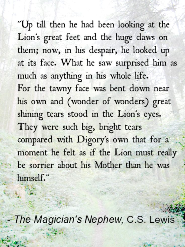 The Magician's Nephew, C.S. Lewis. One of my favorite parts in all of the chronicles of Narnia.