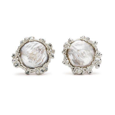 Encrusted Pearl Stud Earrings