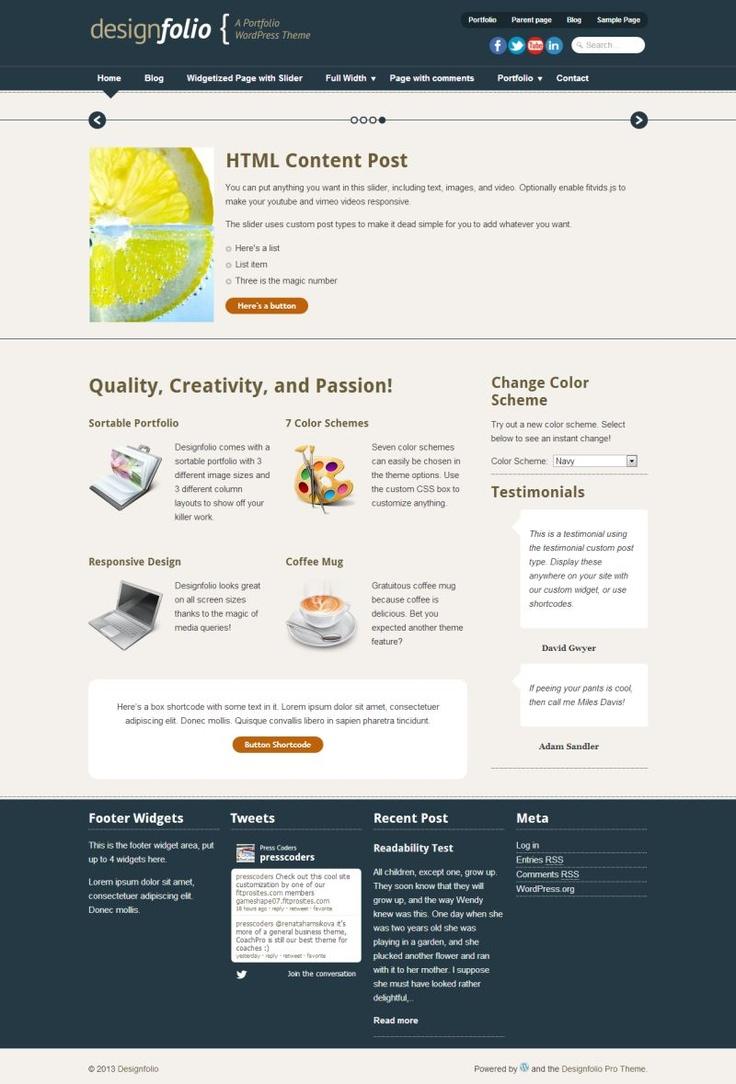 Designfolio . A #responsive portfolio Wordpress theme for creatives. #Free