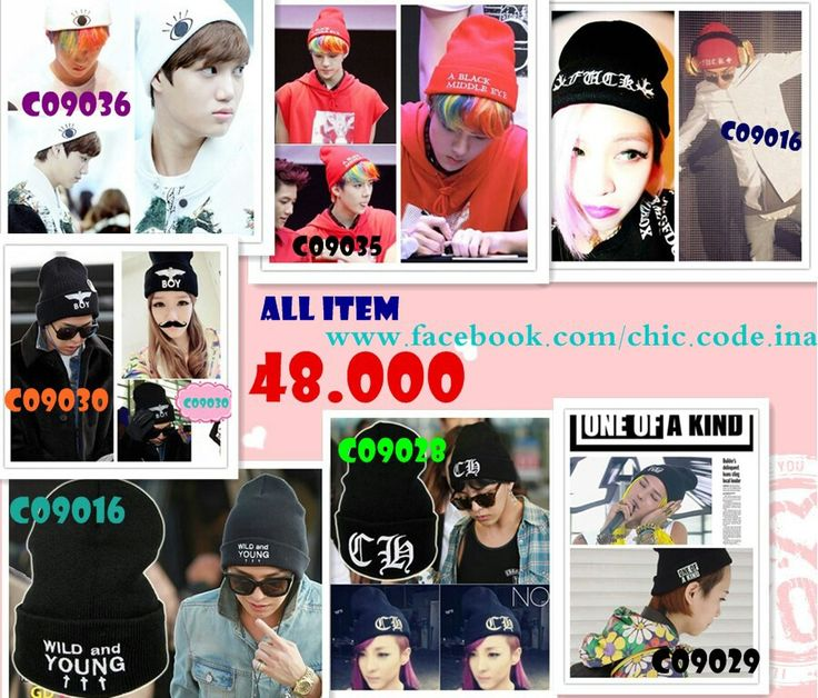Kpop Beanie All item only IDR 48.000 !! GD One of A kind, EXO Sehun A black middle eye, EXO Kai white black middle eye, 2ne1 dara CH beanie ! more product https://www.facebook.com/noonastyleshop | fast respond 089691980048 #kpop #beanie #gd #2ne1 #exo #sehun #kai #t-ara #boy #chiccodeina #noonastyleshop
