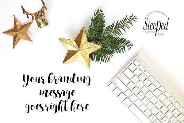 keyboard, gold, christmas flatlay