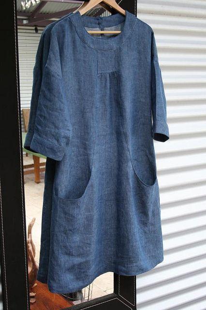 Portfolio dress in linen - Simplicity 2245 Tutorial at http://fiveandcounting-motherof5.blogspot.com/2011/04/portfolio-in-linen-how-to-do-pockets.html