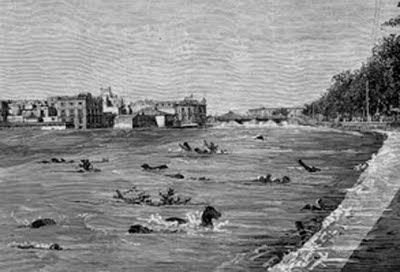 Riada de Sta. Teresa 1879. El Segura, a su paso por Murcia.