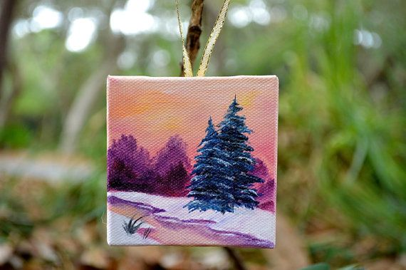 christmas ornament. 3x3 original oil painting. by EllaBeyer, $25.00
