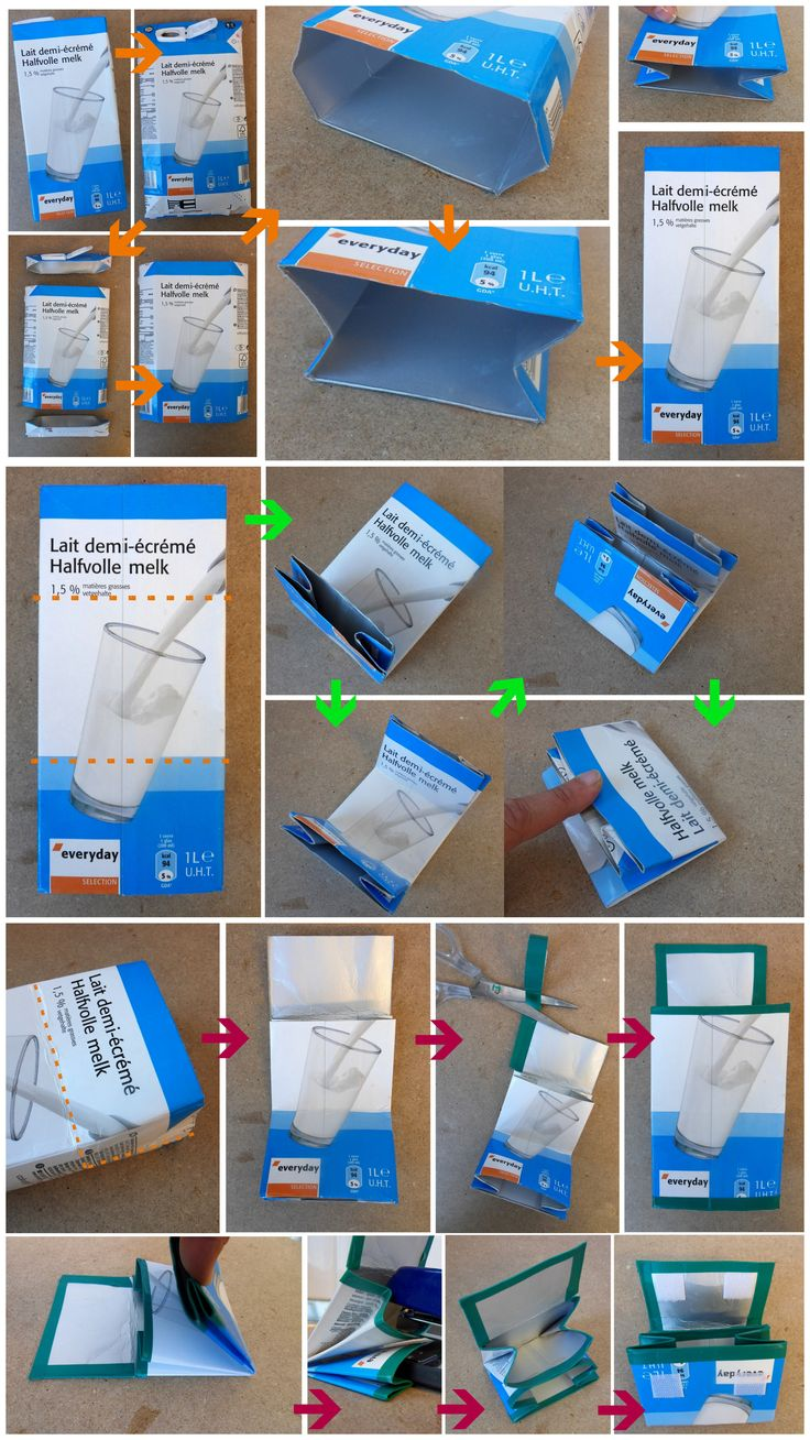 make simple purses out of tetrapacks. If you click on the image, there are a number of other pictures if you get stuck. this site is not in English, but the images say it all.