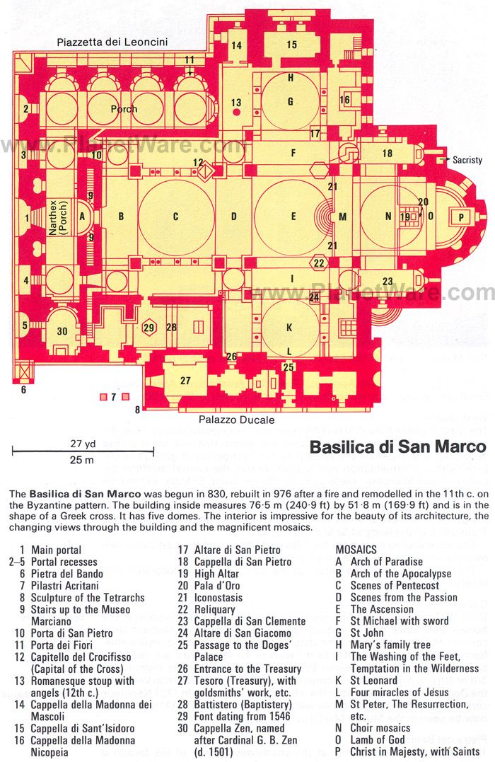 Basilica di San Marco - Floor plan map
